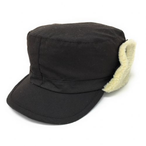Waterproof Wax Cotton Trapper Hat with Ear Flap and Fleece Lining